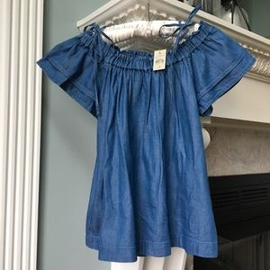The Loft S petite Chambray Off the Shoulder Blouse